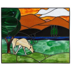 Art Deco Withe Deer Tiffany Stained Glass Window Panel