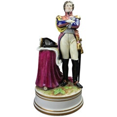 German Muller-Volkstedt Hand-Painted Figural Porcelain of Napoleon, 19th Century