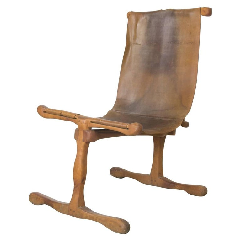 Rare American Studio Craft Movement Leather Sling Lounge Chair