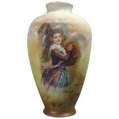 Antique German Royal Bayreuth Bavaria Tapestry Porcelain Portrait Vase