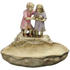 Antique Austrian Figural Amphora Teplitz Pottery Compote, Children with Bunny