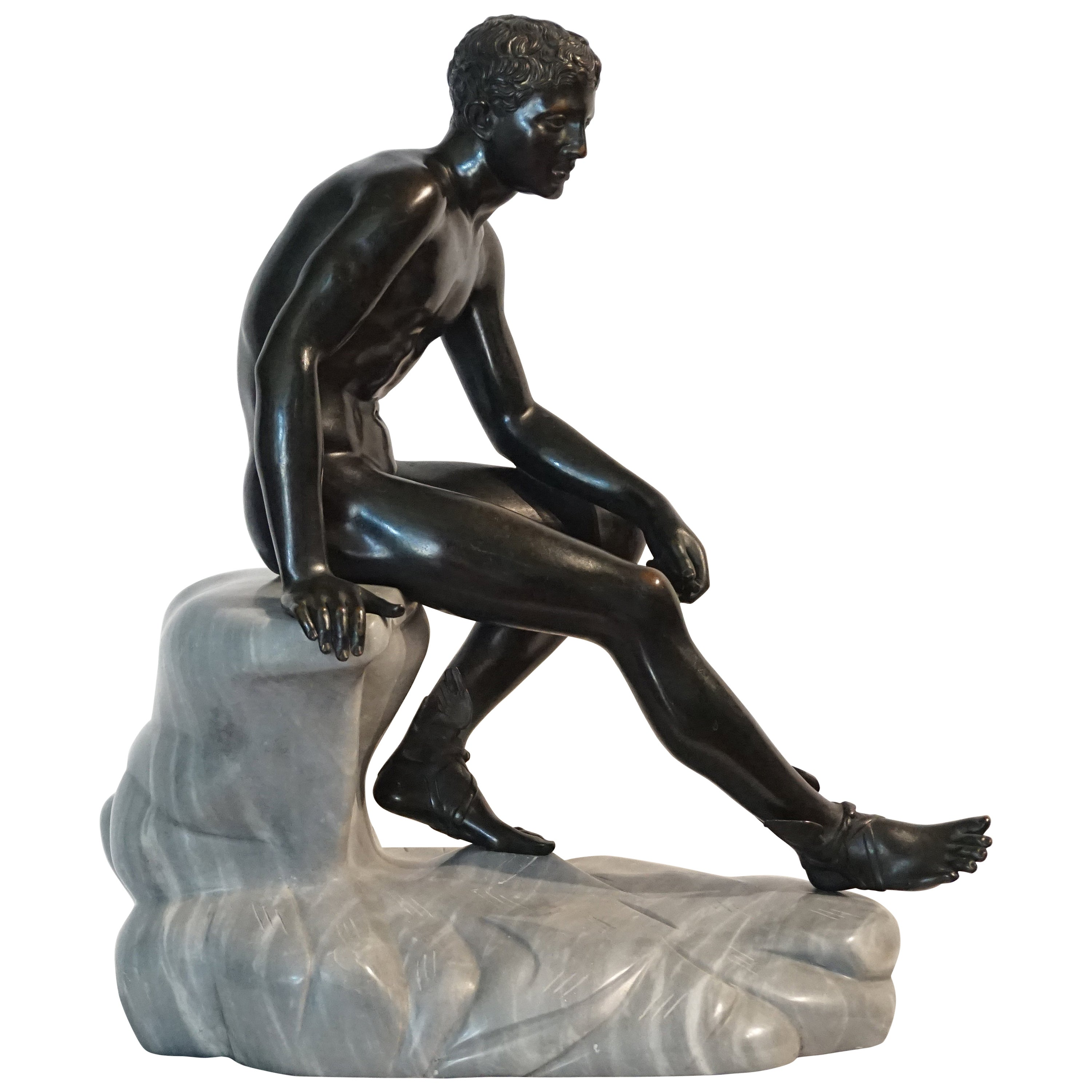 Grand Tour Bronze and Marble Sculpture of the 'Seated Hermes' or Mercury
