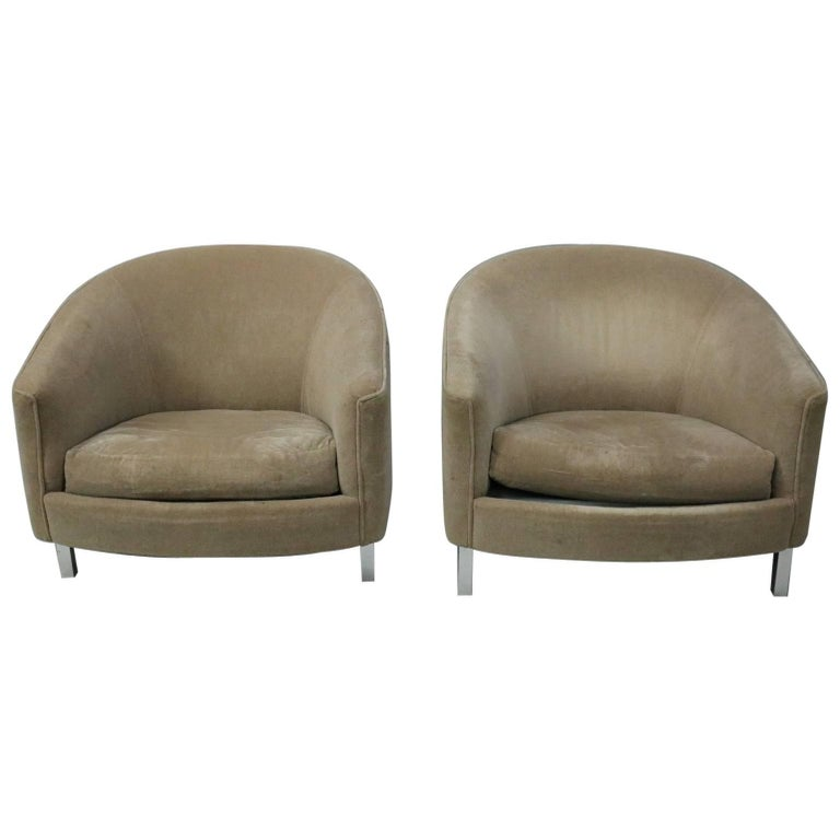 Pair of Mid-Century Modern Upholstered Club Chairs on Chrome Legs, 20th Century