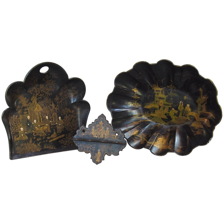 Group of French Paper Mache Black & Gilt Japanned Decorative Items, 19th Century