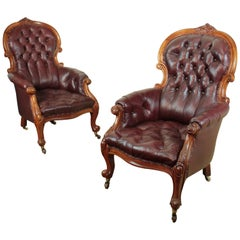 Pair of Victorian Mahogany and Burgundy Leather Gentleman's Library Armchairs