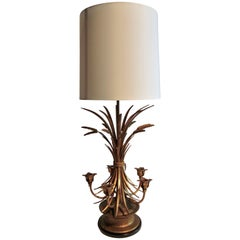 Italianate Gilt Sheaf of Wheat Candelabra Table Lamp Frederick Cooper