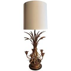 Neoclassic Gilt Sheaf of Wheat Candelabra Table Lamp Frederick Cooper