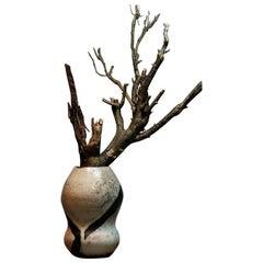 Artistic Double Gourd Form Raku Pottery Vase