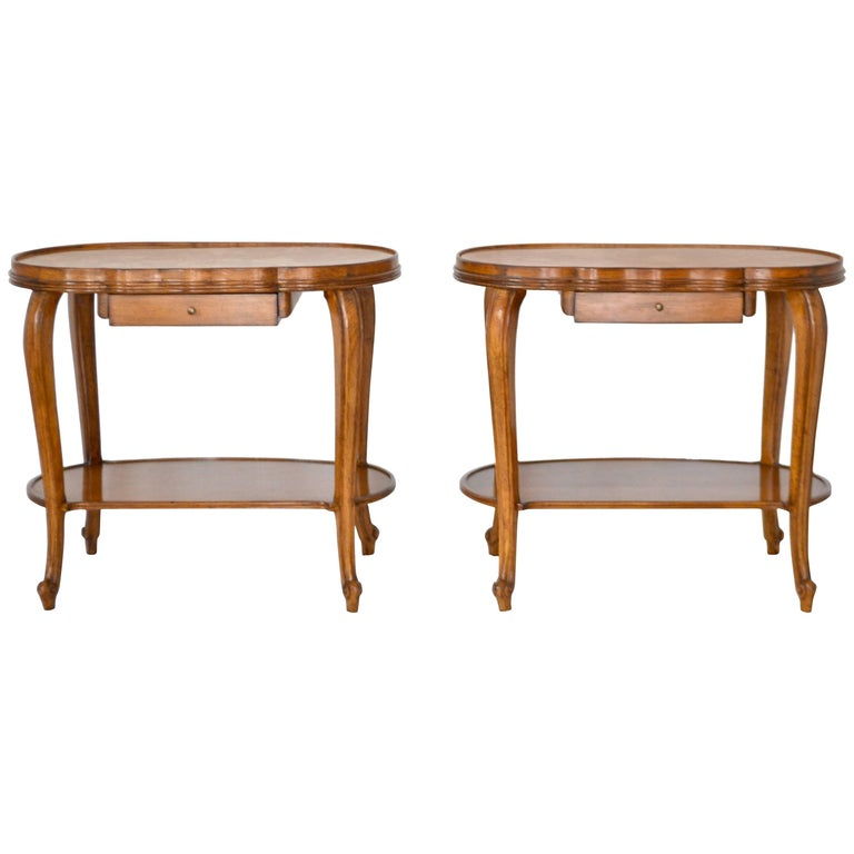 Pair of Italian Hollywood Regency Fruitwood Side Tables with Inset Marble Tops