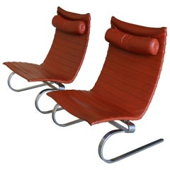 Pair of Poul Kjaerholm Pk20 Lounge Chairs