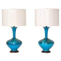 Pair of Mid-Century Blue Green Crackle Glazed Ceramic Jar Form Table Lamps