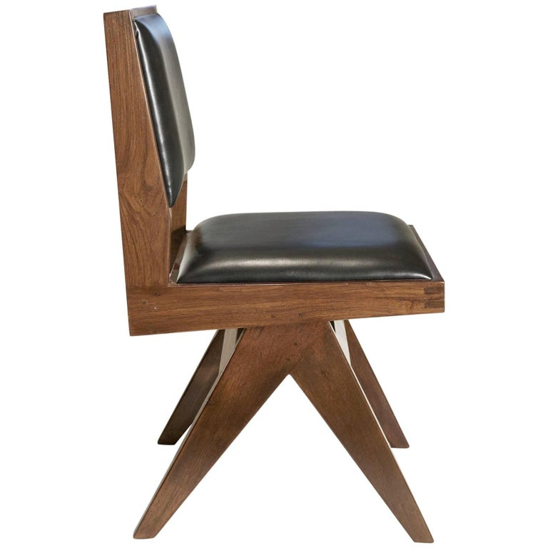 Pierre Jeanneret Chandigarh Chair Teak With Leather At 1stdibs