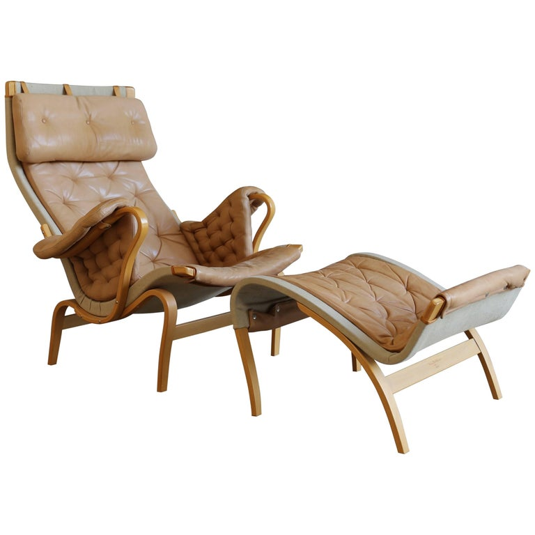 Pernilla Lounge Chair with Ottoman by Bruno Mathsson 1