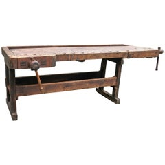 Antique Primitive Carpenters Workbench, 19th Century Ohio Tool