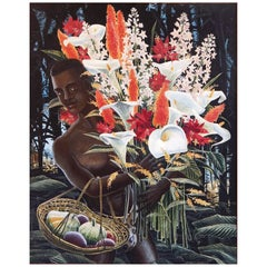 """African Youth with Gourds and Flowers,"" English Art Deco Painting, 1946"