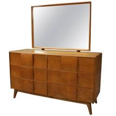 Vintage Heywood-Wakefield Kohinoor Yellow Birch Six-Drawer Mirrored Dresser