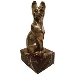 Art Deco Bronze Figure of a Cat 'Chat De Siam Assis' by Edouard M. Sandoz
