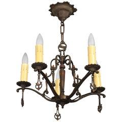 Cast Bronze Five-Light Chandelier with Original Polychrome Paint
