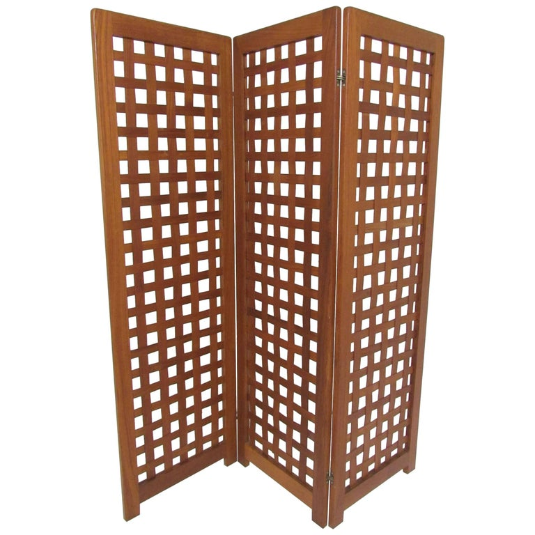 Danish Modern Teak Three-Panel Room Divider Screen, circa 1970s For Sale