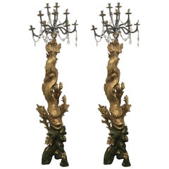 Pair of Magnificent 17th Century Candelabra by Domenico Parodi