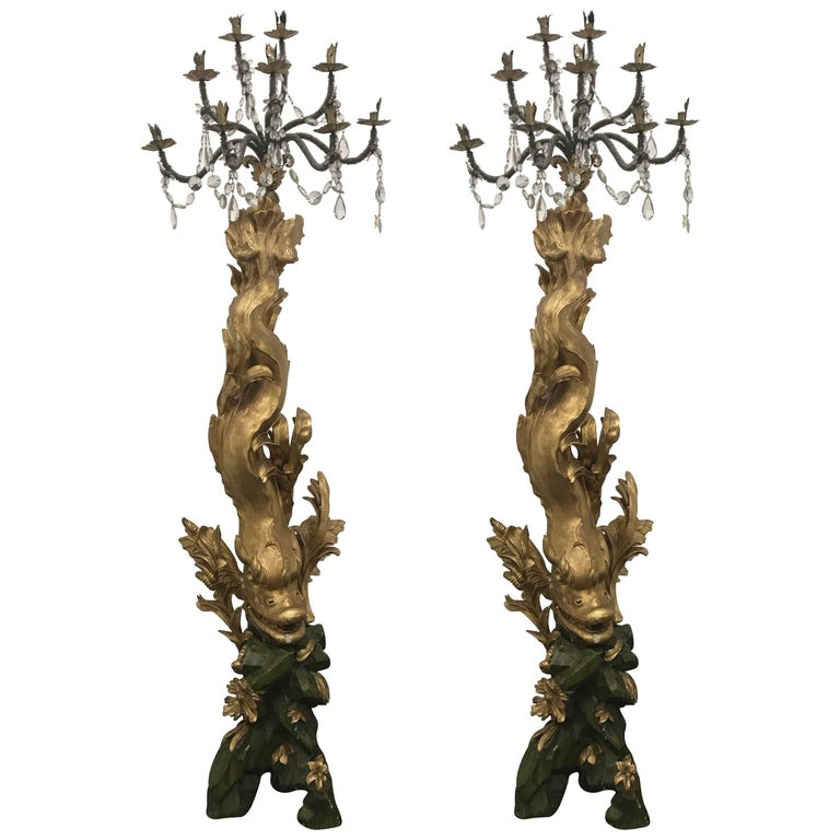 Pair of Magnificent 17th Century Candelabra by Domenico Parodi For Sale