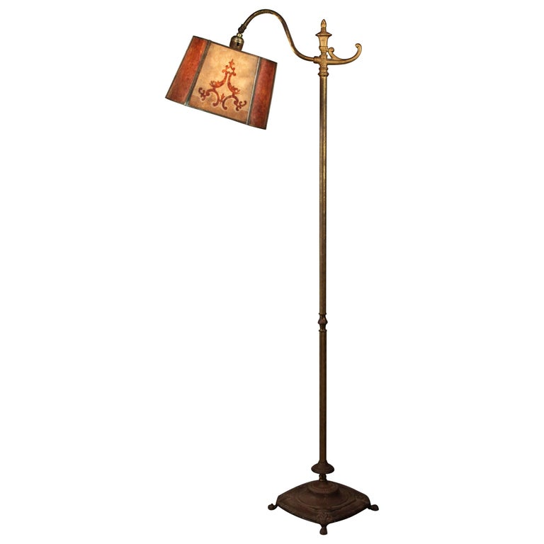 1920s Floor Lamp with Two Color Mica Shade