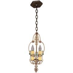 Antique 1920s Polychrome Two-Light Pendant Light with Clover Motif