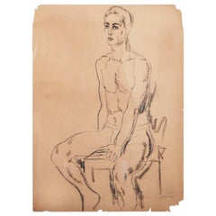 """Male Nude,"" Early and Fine Drawing by William Baziotes at National Academy"
