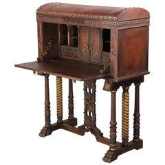 Extraordinary 1920s Vargueno Writing Desk Cabinet