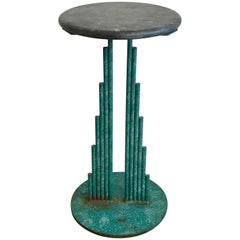 Curtis Jere Memphis Era Metal Side Table with Round Marble Top, 1987