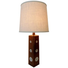 Gordon & Jane Martz Marshall Studios Walnut with Ceramic Tiles Table Lamp