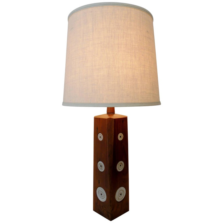 Gordon & Jane Martz Marshall Studios Walnut with Ceramic Tiles Table Lamp For Sale