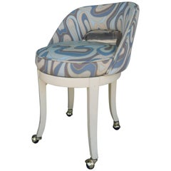 Vintage 1960s Vanity Swivel Stool in New Italian Modern Art Jacquard Fabric