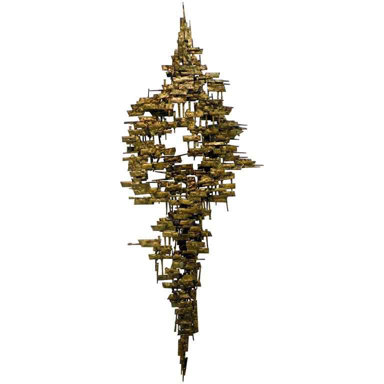 Brutalist Gilt Metal and Nail Mid-Century Modern Wall Sculpture For Sale