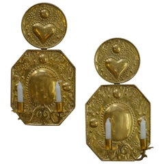 Pair of Hand-Hammered Swedish Brass Sconces