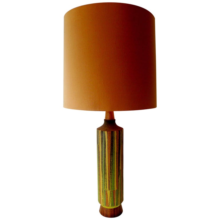 Large Aldo Londi Milano Moderno Bitossi Italian Art Pottery Table Lamp For Sale