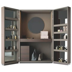 Luxury Open Up Modern Vanity, Made in Italy, Leather Covered Doors