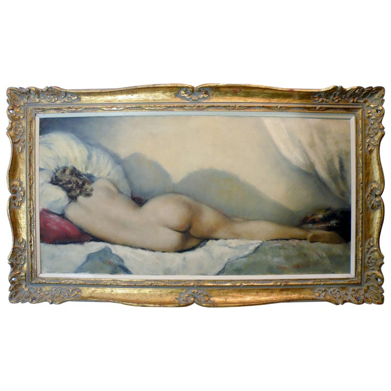 Midcentury Cesar Vitol French Nude Oil Painting Sleeping Pin-Up 1