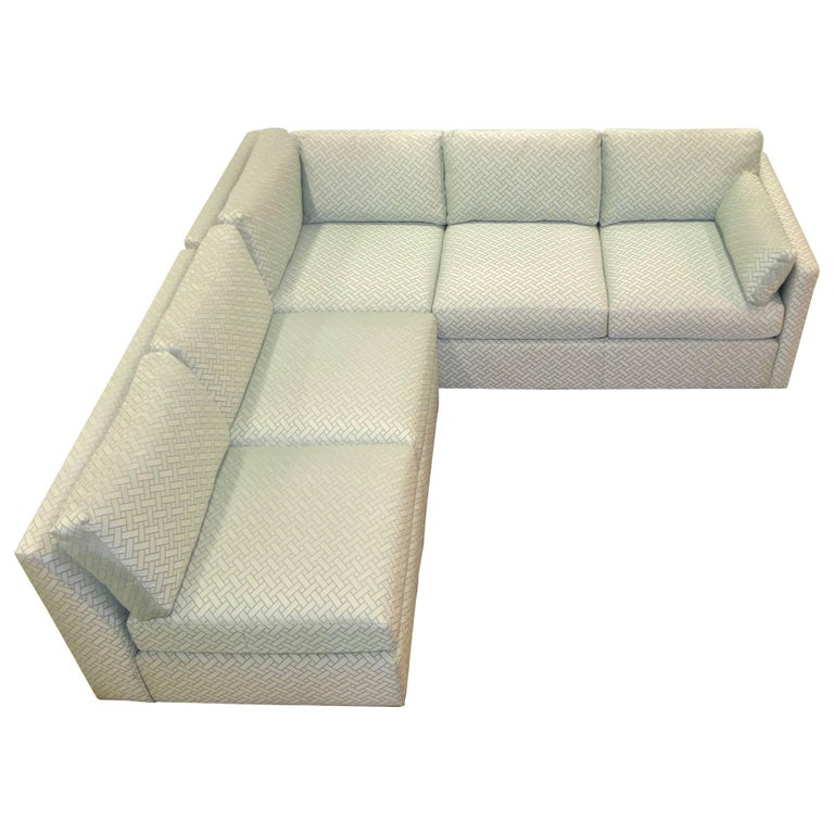 Milo Baughman Style Two-Piece Sectional Sofa L-Shaped 1