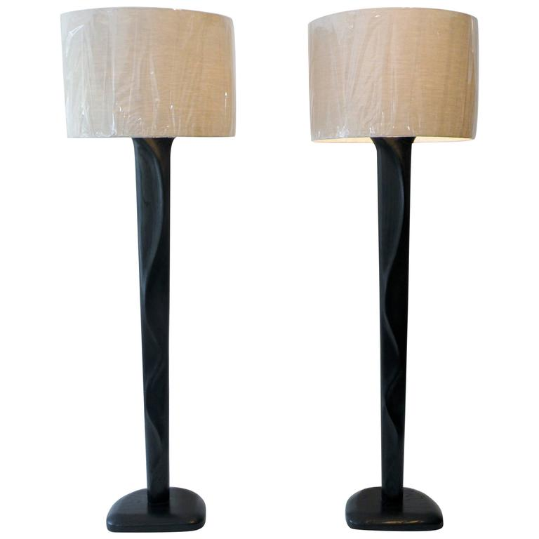 Pair of Sculpted Midcentury Organic Modern Ebonized Oak Floor Lamps For Sale