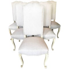 Six French Cabriole Leg Dining Chairs