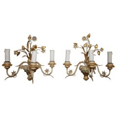 Pair of French Painted Sconces