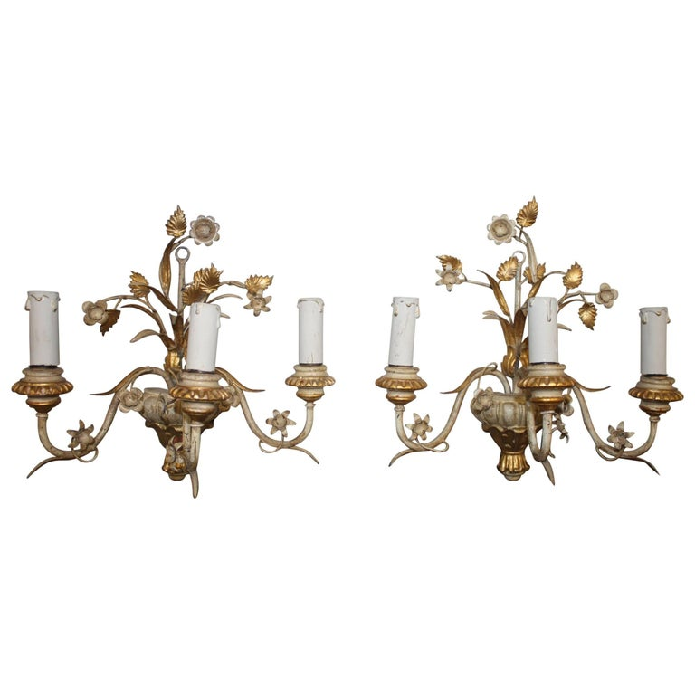 Pair of French Painted Sconces For Sale