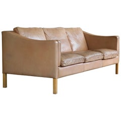 Børge Mogensen Style Three-Seat Sofa Model 2213 in Tan Leather by Stouby Mobler