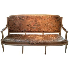 Museum Quality Original Louis XVI Tapestry and Painted Canape Sofa