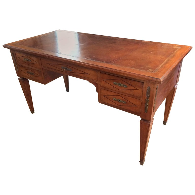 Exquisite Antique French Partners Desk With Tooled Leather Top For