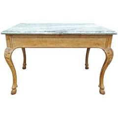Chic 19th Century French Bleached Oak and Marble Center Table