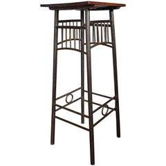 Viennese Secession Brass Plant Stand with Solid Oak Top Kolomon Moser Style