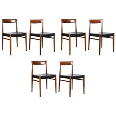 Set of Six Hardwood Dining Chairs in the Style of Møller 77 Chairs