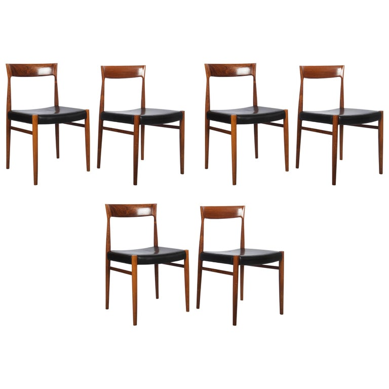Set of Six Hardwood Dining Chairs in the Style of Møller 77 Chairs For Sale